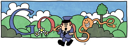 Google Logo: 76th Birthday of Roger Hargreaves - Mr. Men and Little Miss creator - Mr. Tickle