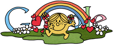 Google Logo: 76th Birthday of Roger Hargreaves - Mr. Men and Little Miss creator - Little Miss Sunshine