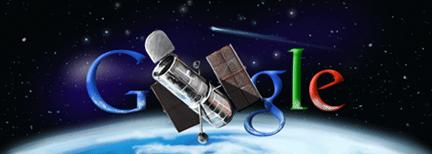 Google Logo: 20th Anniversary of Hubble Telescope Launch by NASA