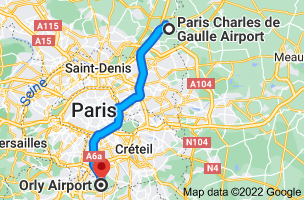 Map from Charles de Gaulle Airport (CDG), 95700 Roissy-en-France to Orly Airport (ORY), 94390 Orly