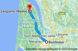 Carte depuis Bordeaux pour Lesparre-Médoc, 33340