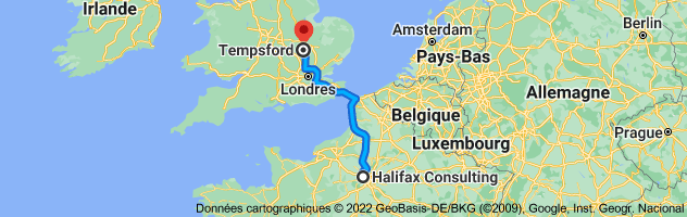 Carte depuis Halifax Consulting, Hôtel de Créquy, 15 Rue de Pontoise, 78100 Saint-Germain-en-Laye pour Tempsford, Sandy, Royaume-Uni