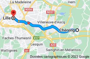 Carte depuis Chéreng, 59152 pour Lille