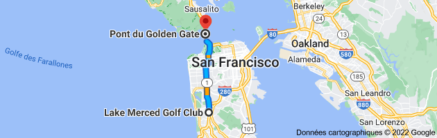 Carte depuis Lake Merced Golf Club, 2300 Junipero Serra Blvd, Daly City, CA 94015, États-Unis pour Pont du Golden Gate, Golden Gate Bridge, San Francisco, CA, États-Unis