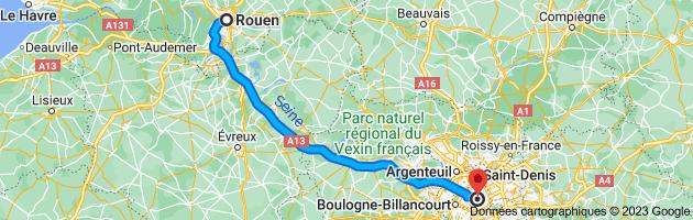 Carte depuis Rouen pour Paris