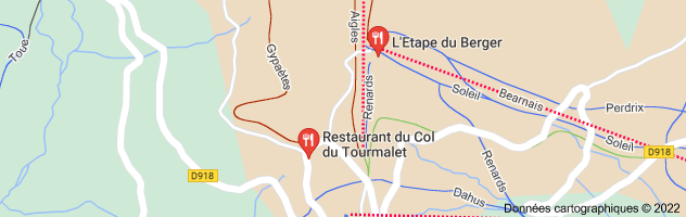 restaurant col du tourmalet: carte