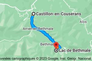 Carte depuis Castillon-en-Couserans, 09800 pour Lac de Bethmale, 09800 Bethmale