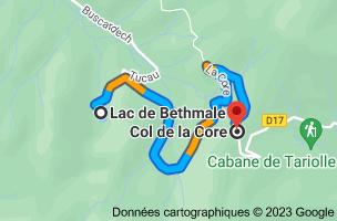 Carte depuis Lac de Bethmale, 09800 Bethmale pour Col de la Core, 09140 Sentenac-d'Oust