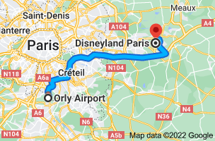 Map from Orly Airport (ORY), 94390 Orly to Disneyland Paris, 77777 Marne-la-Vallée